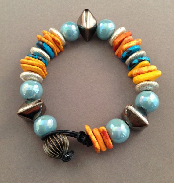 Ceramic Bead Beads: READY TO SHIP Greek Ceramic Bead Bracelet On By