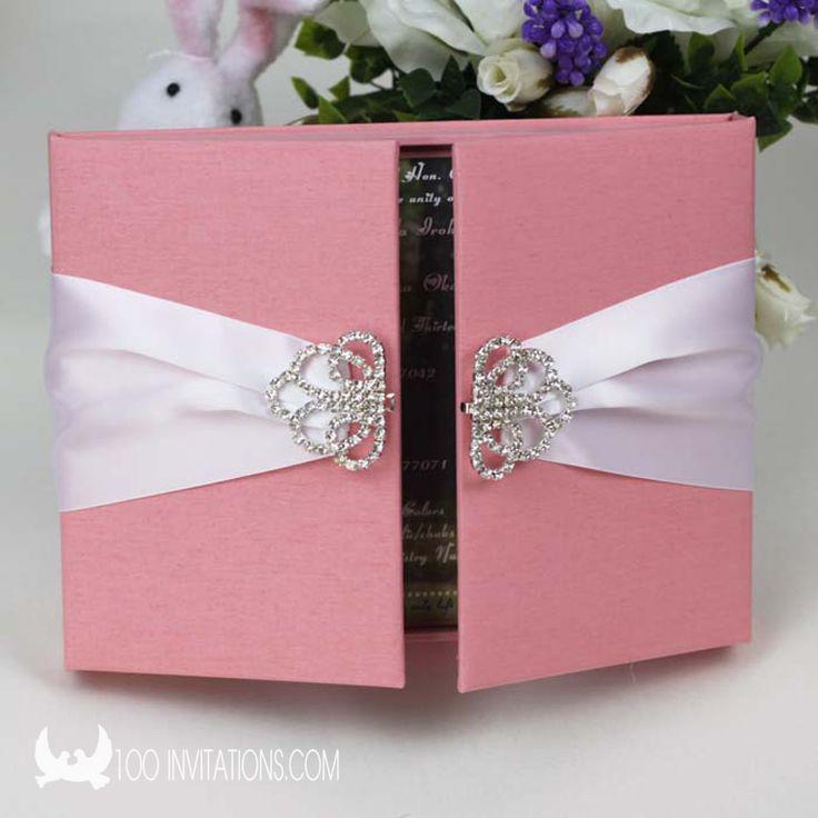 Pink Silk Box Wedding Invitations With Large