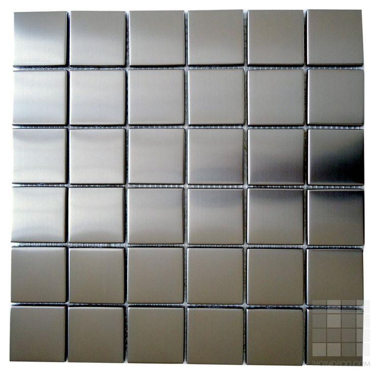 Pastilha de Porcelana Prata Acetinado 5x5cm XP5003 | Metal | Inox |