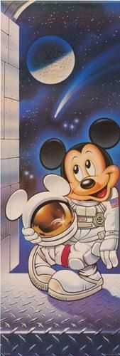 Mickey Mouse Astronaut 1987 Rare Door Poster