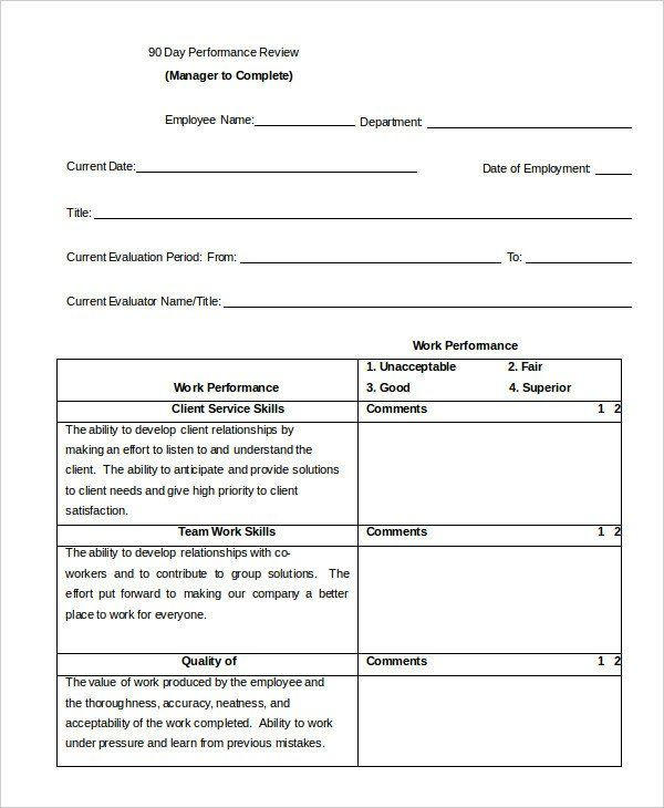 Employee Performance Review Template Word Luxury Performance Review Example 9 Free Word Ex Evaluation Form Employee Performance Review Employee Evaluation Form