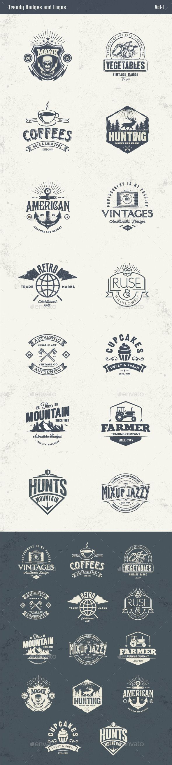 Trendy Badges and Logos Template #design Download: http://graphicriver.net/item/trendy-badges-and-logos-vol1/13088834?ref=ksioks