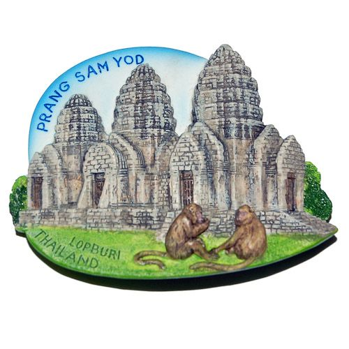 Resin Fridge Magnet: Thailand. Lopburi. Prang Sam Yot