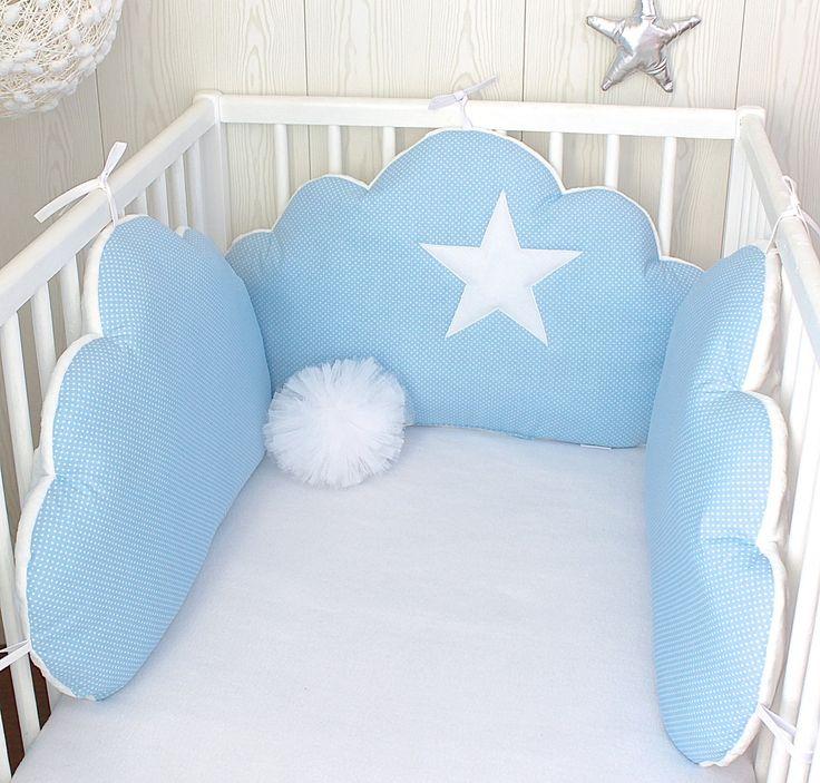 *Tour de lit bébé nuages, 3 grands coussins, couleur bleu ciel
