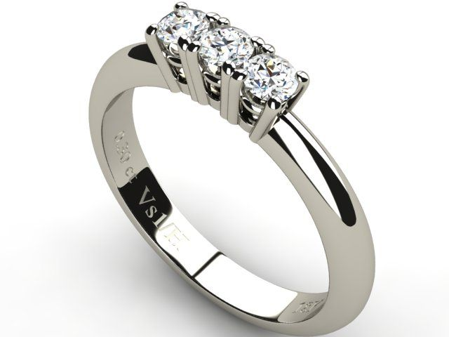 White Gold Half Eternity Trilogy Diamond Ring 0.30 ct - Paul Jewelry