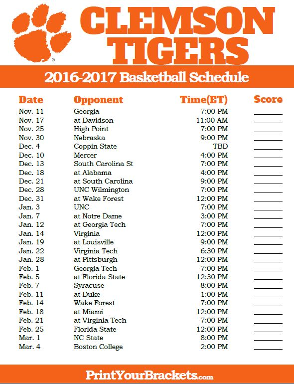 Clemson Tigers 2016-2017 College Basketball Schedule