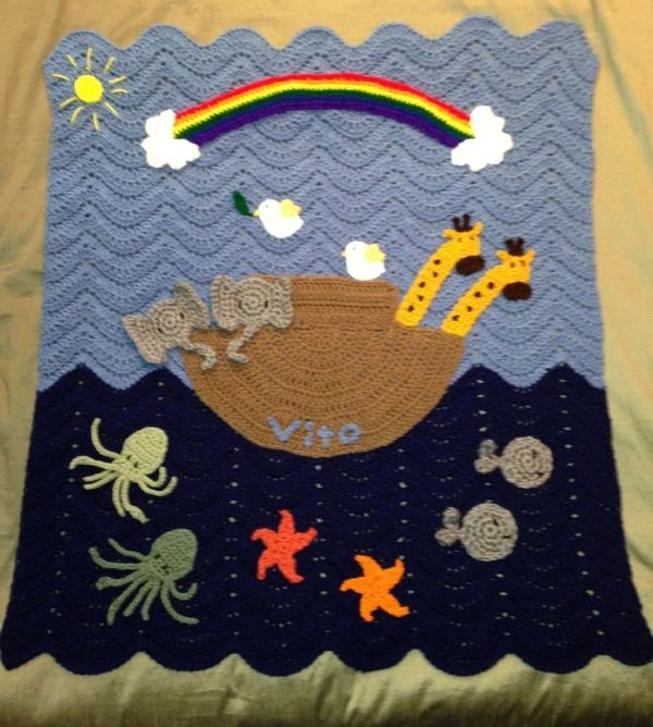 """""""Noah's Ark Baby Blanket"""" Ocean Waves Red Heart Pattern Appliques by various free patterns (Squid by Moogly) by Shirley J. Schafer"""