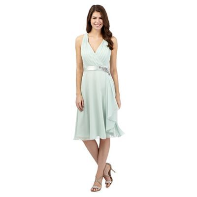 No. 1 Jenny Packham Pale green pleated waterfall midi dress | Debenhams