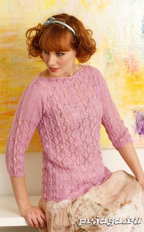 Кружевной женский пуловер спицами