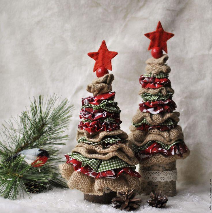 Купить Текстильные елочки 2 - ярко-красный, елочка, елочка новогодняя, рустик, текстильная елочка