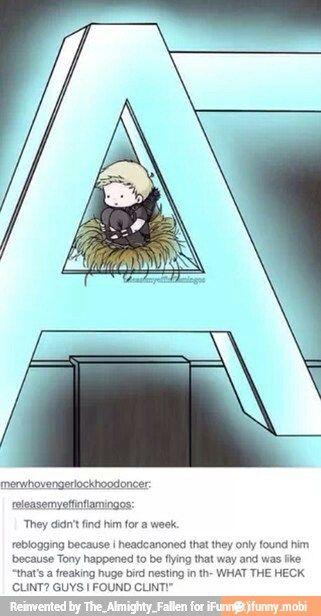 ca-CAW. Haha cute avengers drawing comic. Clint. Tiny. Hawkeye. Iron man. Birds nest. Funny avengers.