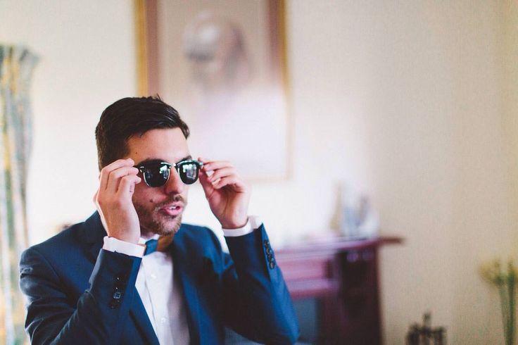 #groom #blue #suit #wooden #bowtie #sunglasses