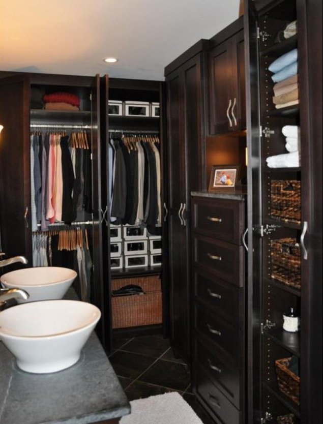 dark custom closet organizer in modern bathroom learn more interior. Black Bedroom Furniture Sets. Home Design Ideas