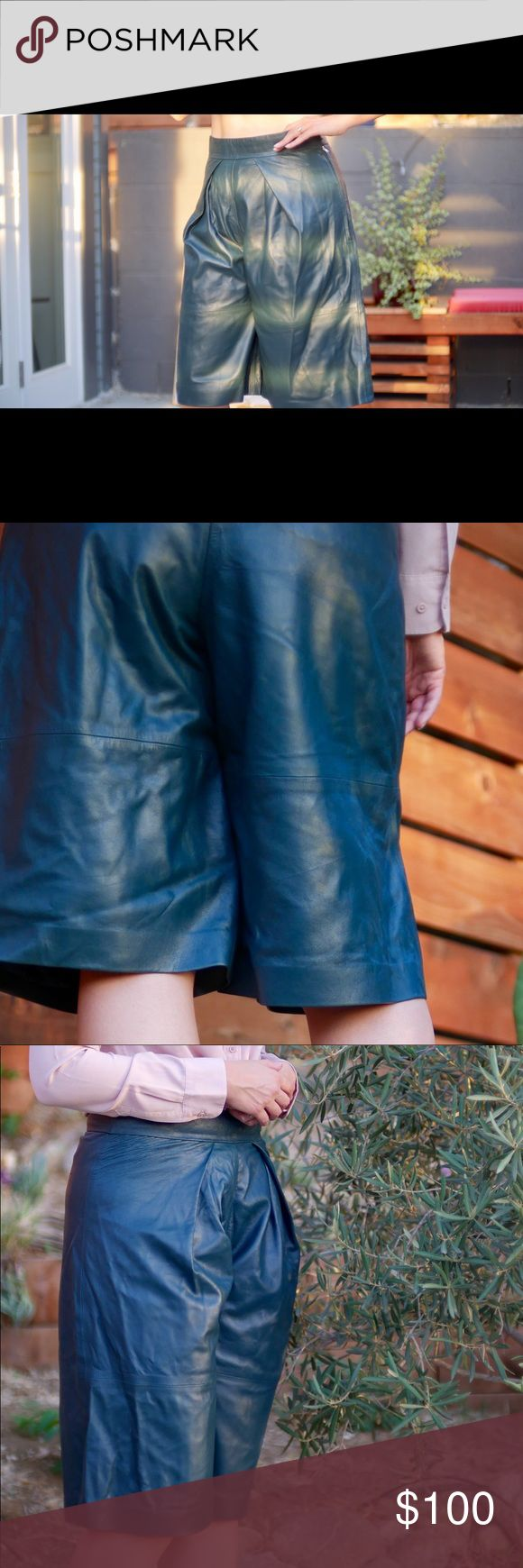 & Other Stories Dark Green Leather Culottes Crafted from butter leather with wide culottes legs, these trousers are comfortably fully lined. Zip and hook, side. Pleat detail, front. Never worn except for these photos. & other stories Shorts Skorts