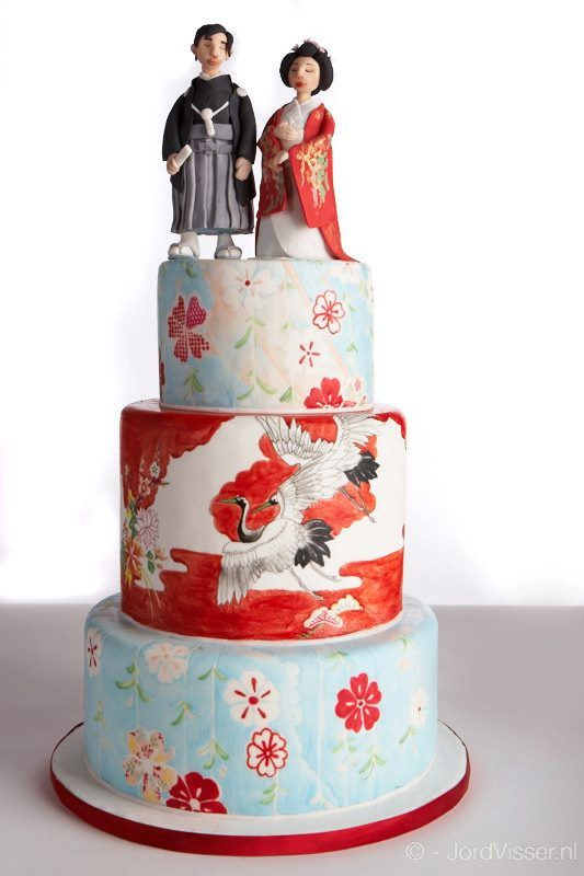 Hand-painted Japanese wedding cake with cranes and flowers in light blue and red.  Hate the cake topper on this one.