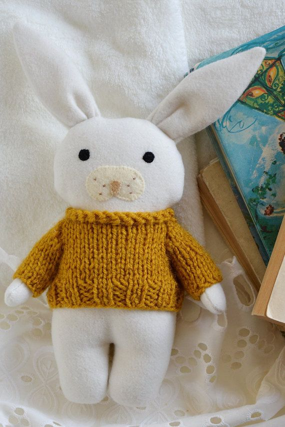 Honey little bunny stuffed toy animal soft toy white by Fernlike