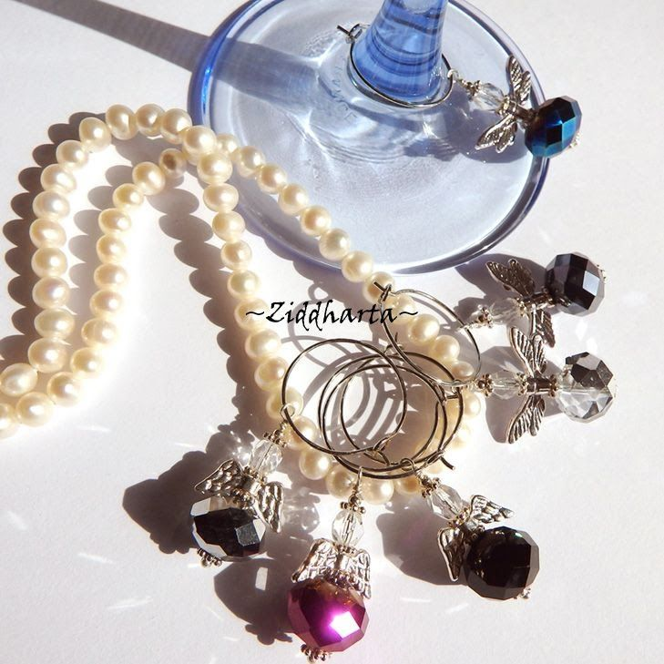DIY Tutorials beading & Jewelry making: Wineglass Charms - Vinglas-markö...