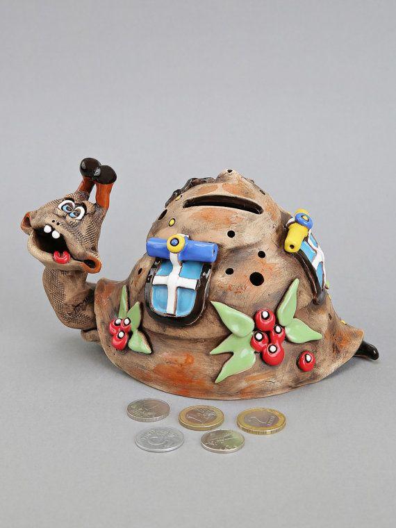 Ceramic Snail Bank Money Box Birthday Gift Baptism by Molinukas