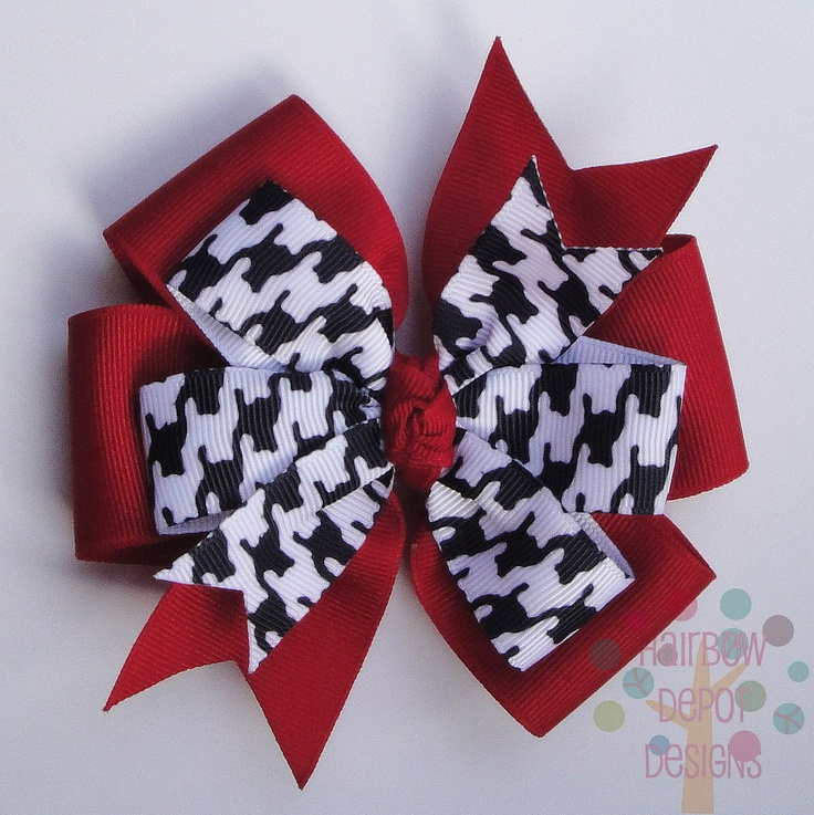 Alabama Crimson Tide Houndstooth and Red Pinwheel Stacked Hairbow Hair Bow.