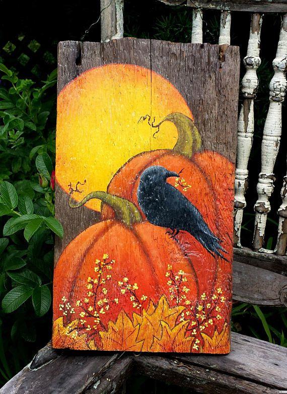 Hand painted Fall Autumn Folk Art Reclaimed Wood