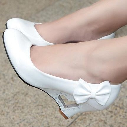 Low price wholesale new fashion women pumps wedges bowtie high heels shoes woman platform wedding shoes drop shipping