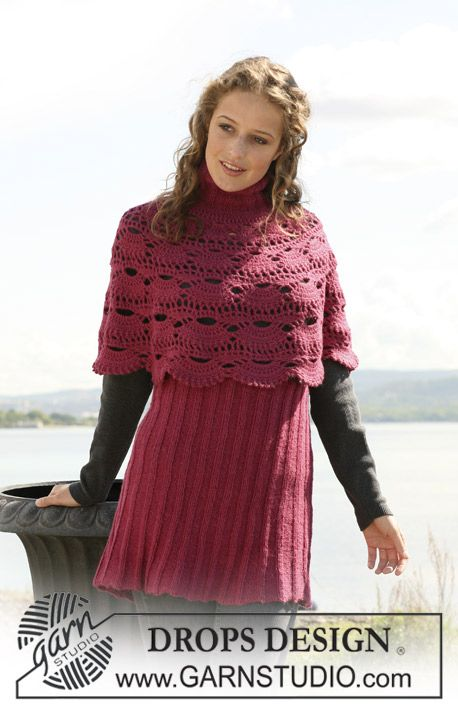 """DROPS crochet poncho and knitted skirt in 2 threads """"Alpaca"""". Size S - XXXL. ~ crochet pattern"""