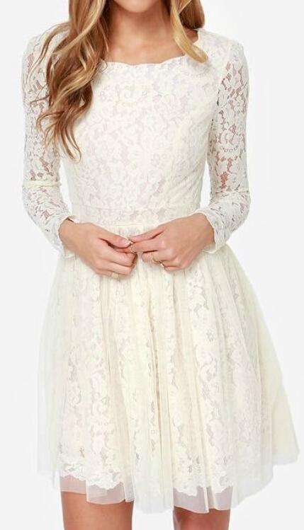 2015 Short Lace Wedding Dresses Long Sleeves High Quality Crew Tulle Bridal Gonws Knee Length Mini Ivory Wedding Dress from Weddingplanning,$114.69 | DHgate.com