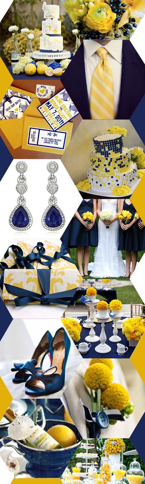 navy blue + yellow wedding inspiration. That M n m wedding cake is slightly ratchet though lol!