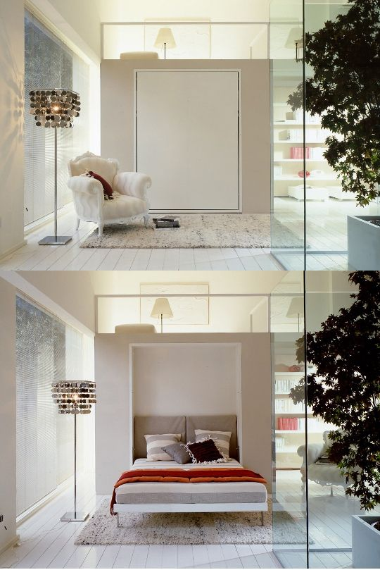 Modern Murphy Beds...Cool idea for small spaces!