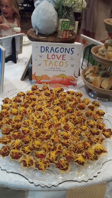 Storybook baby shower Dragons love tacos- Taco bites (Scoops, taco seasoning meat, salsa and cheese)