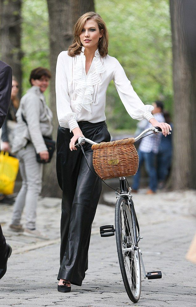 Biking it: Karlie posing like a champ in leather trousers