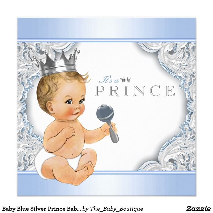 Baby Blue Silver Prince Baby Shower Invitation