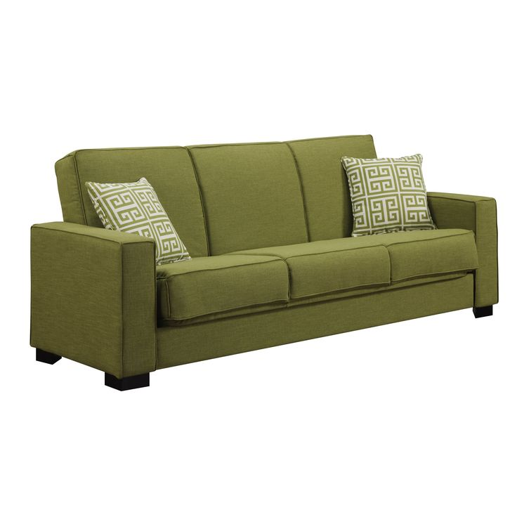 With espresso block legs, track arms, and trending accent pillows, the Convert-a-Couch® Swiger Convertible Sofa sets the scene in any living space. Five upholstery options blend easily with every color scheme, and the versatile silhouette converts into a full-sized sleeper for overnight guests. Simple yet highly practical, the Swiger Convertible Sofa is a great option to place in your living room or guest room. Featuring clean cuts and immaculate lines, this sofa has a traditional style that…