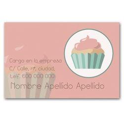 Tarjetas de Visita Una Cara Horizontal Muffin rosa