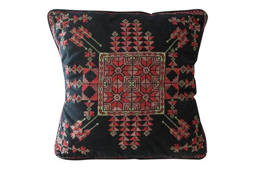 Beautiful all hand embroidered cushion from Egypt. Stunning tribal motifs. So #tribalchic!  http://www.mmontague.com/cushions-inventory/moroccan-embroided-cushion-6029