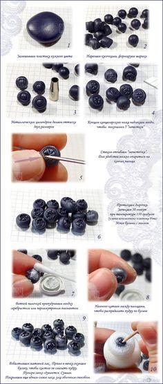 polymerclayfimo: Черника-голубика - урок#cutid1