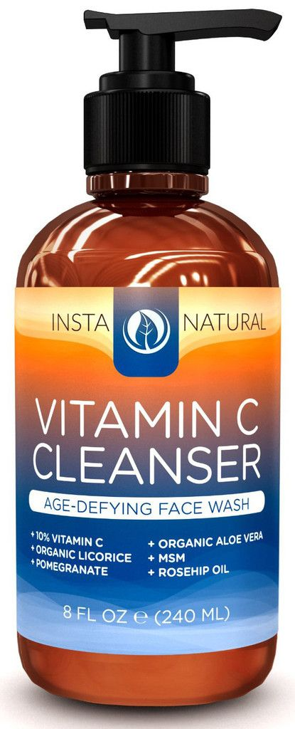 InstaNatural's Vitamin C Cleanser is a premium anti-aging face wash featuring natural ingredients that help to refine the skin's tone and texture, as well provide free radical protection to fight against the signs of aging, such as sun spots and discoloration. This sulfate-free cleanser features a soothing medley of Aloe Vera and 10% Vitamin C for premium hydration and antioxidant fortification to keep the skin looking and feeling soft, healthy and vibrant.