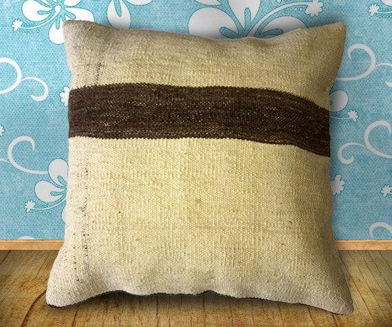 60 Years old Aksaray Organic Color Striped Kilim Pillow Cover, Unique Flat woven, 15.7 inch or 40cm square, rug pillow, organic pillow