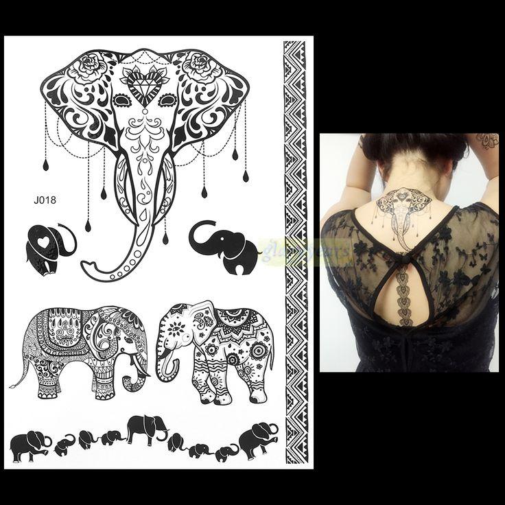 1 pc đèn flash thời trang Waterproof phụ nữ xăm đen mực henna Jewel Sexy ren BJ018 cưới con voi henna hình xăm tạm thời sticker