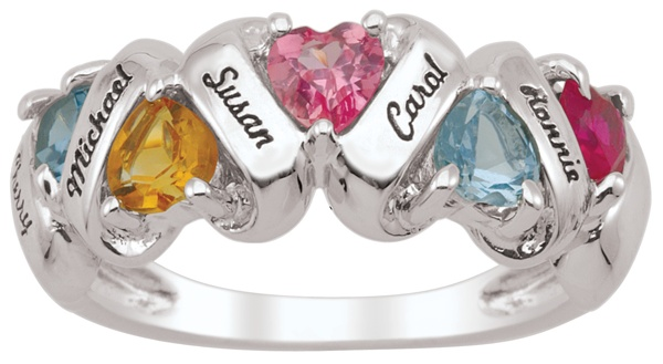 Commemorate each family member's love with their own enchanting heart shaped gemstone. This Family Ring / Mother's Ring is available with 3 to 5 heart stones, each measuring 4 x 4 mm. Available in 14K Gold, 10K Gold & Sterling Silver.    www.personalizedgems.com
