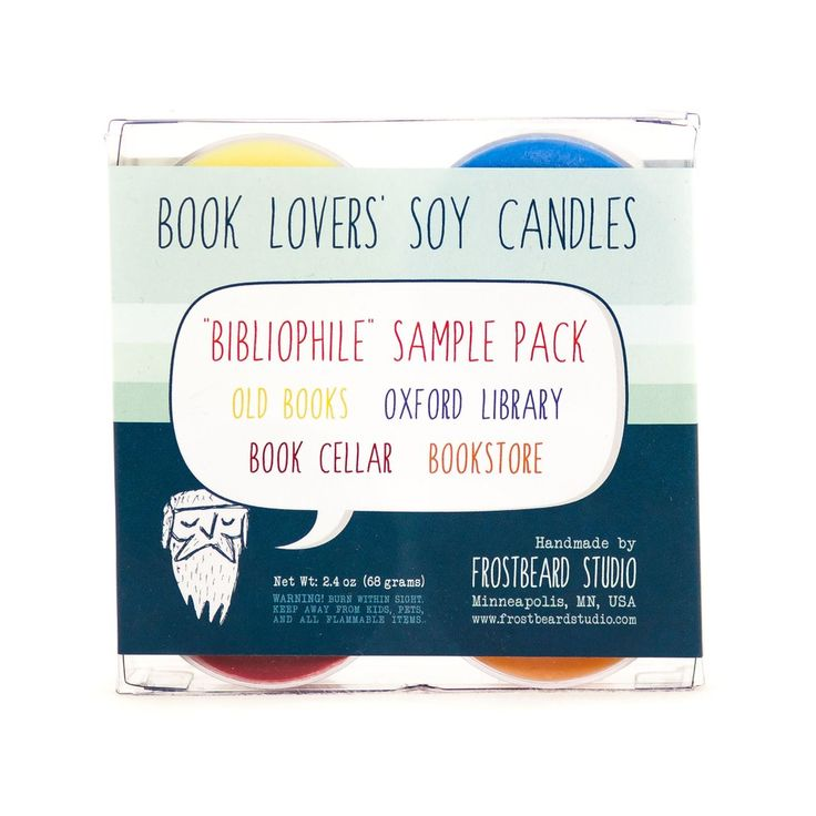 Bibliophile soy candle sample pack label view