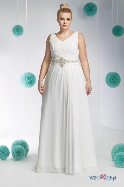 suknia ślubna Annais Bridal z paskiem #polkipl