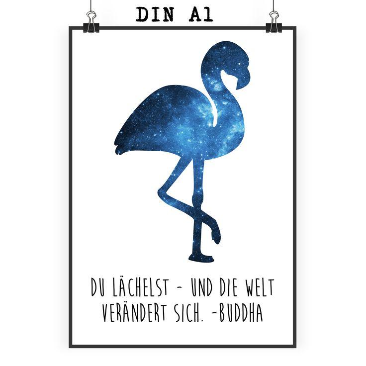 Poster DIN A1 Flamingo aus Papier 160 Gramm  weiß - Das Original von Mr. & Mrs. Panda.  Jedes wunderschöne Poster aus dem Hause Mr. & Mrs. Panda ist mit Liebe handgezeichnet und entworfen. Wir liefern es sicher und schnell im Format DIN A2 zu dir nach Hause. Das Format ist 549 x 841 mm    Über unser Motiv Flamingo  Flamingos gehören zu den schönsten Vögeln im Tierreich und ähneln pinkfarbenen Störchen.Der Flamingo kommt in Süd-, Mittel- und Nordamerika sowie Europa, Afrika und Asien vor…
