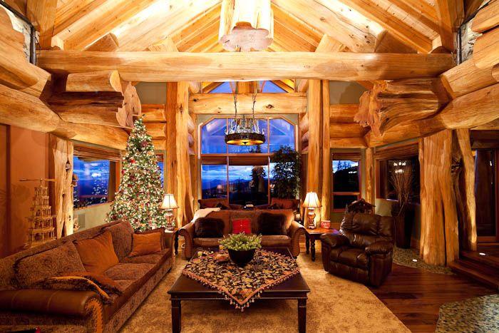 Log Home Christmas Decor