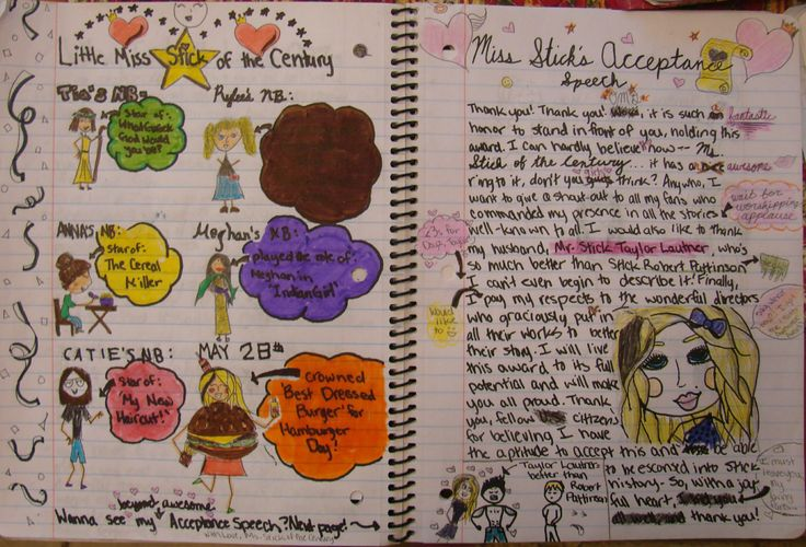 """Anna--one of my 7th graders--takes home one of my ten """"Mr. Stick of the Year"""" writer's notebook awards for this two-page spread that honors the """"Stick of the Century!""""  I love the acceptance speech and Stick Taylor L.'s abs, Anna, and I will miss your creativity next year. My Mr. Stick resources, which inspire great notebook pages like this one, can be found online at my website: http://corbettharrison.com/Mr_Stick.html"""