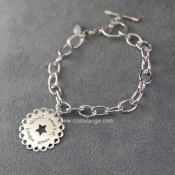 Bracelet XL breloque Ho oponopono miroir fleurette 160221 B H 1420 : Bijoux Cristalange pour lithothérapie en pierres fines et bijoux anges