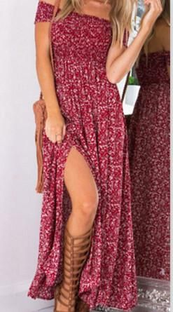 ZAFUL Summer Women Dress Bohemian Sexy split hem short sleeve Off shoulder red Print Woman long Maxi Dresses Feminino Vestidos