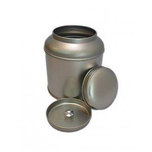 E4,30 // Rond zilveren theeblik - van Bruggen Thee. Voor ci 100 gram losse thee.