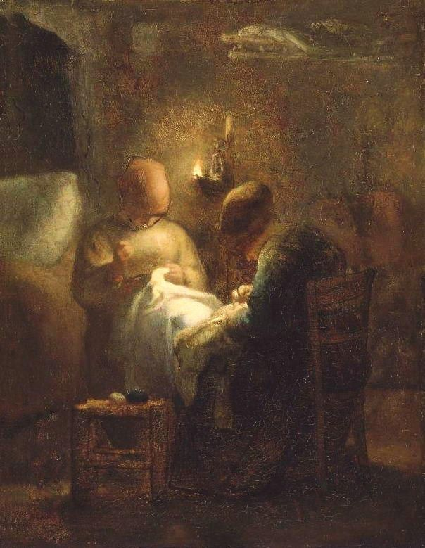 'Sewing by Lamplight' (1853)- French painter Jean-François Millet (1814-1875)