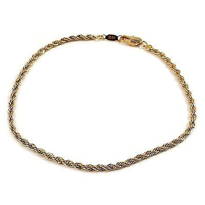 Twist Rope Chain Bracelet 24k Yellow Gold Plated Classic 7 or 8 Inch